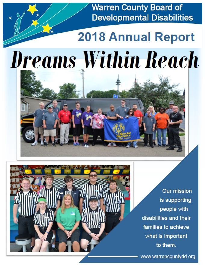 Front page of the Warren County Board of Developmental Disabilities 2019 Annual Report.
